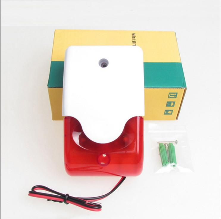 12V 103 Mini Wired Strobe Flashing Red Light Siren Durable Alarm Siren Home Security GSM Alarm System 115dB mini wired strobe sirene duurzaam 12 v wired sound alarm strobe rood knipperlicht geluid sirene alarmsysteem 115db