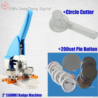 New Pro 2 50MM Badge Bouton Making Machine Circle Cutter 200pcs Pin Buttons 50MMbadge Package