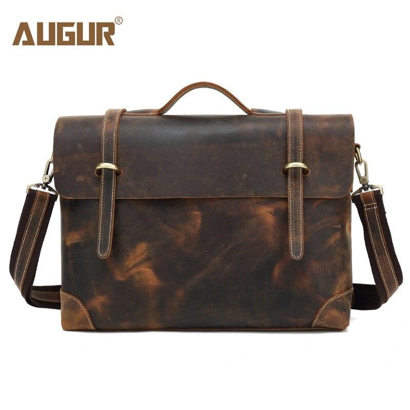 AUGUR mode peau de vache en cuir véritable sac à bandoulière pour hommes sacs à bandoulière ordinateurs portables d'entreprise hommes porte-documents sacs à main Messenger