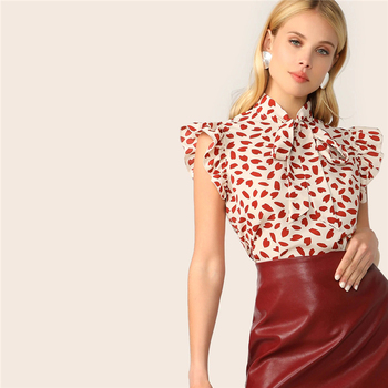 vintage red dotted ruffle blouse
