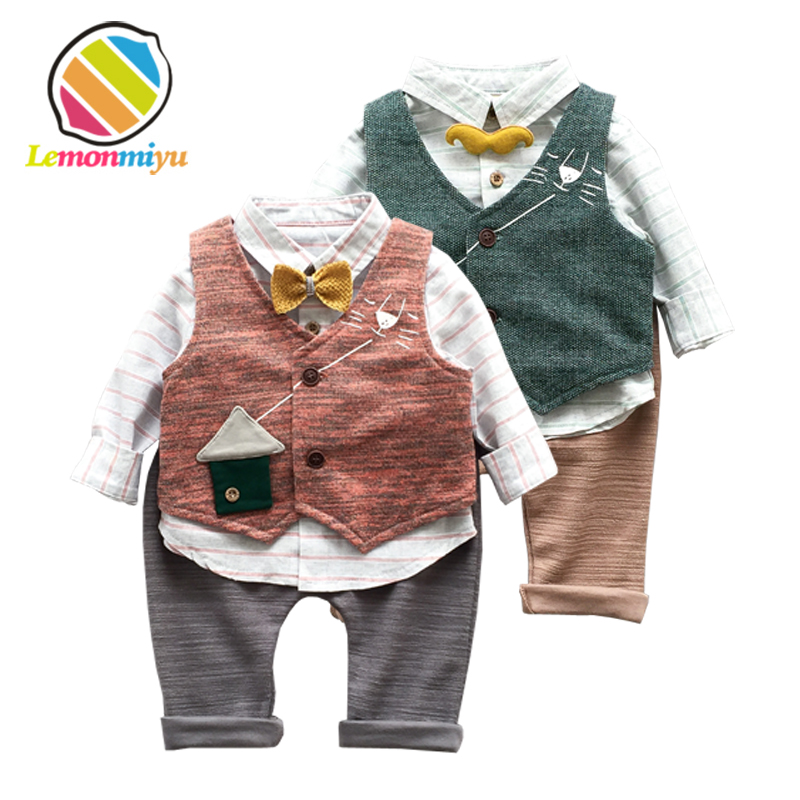 Lemonmiyu Baby 3pcs Clothing Sets Infants Cotton Full Patch Suits Shirts And Long Pants Vest Animal Sets Newborns Spring Outfits