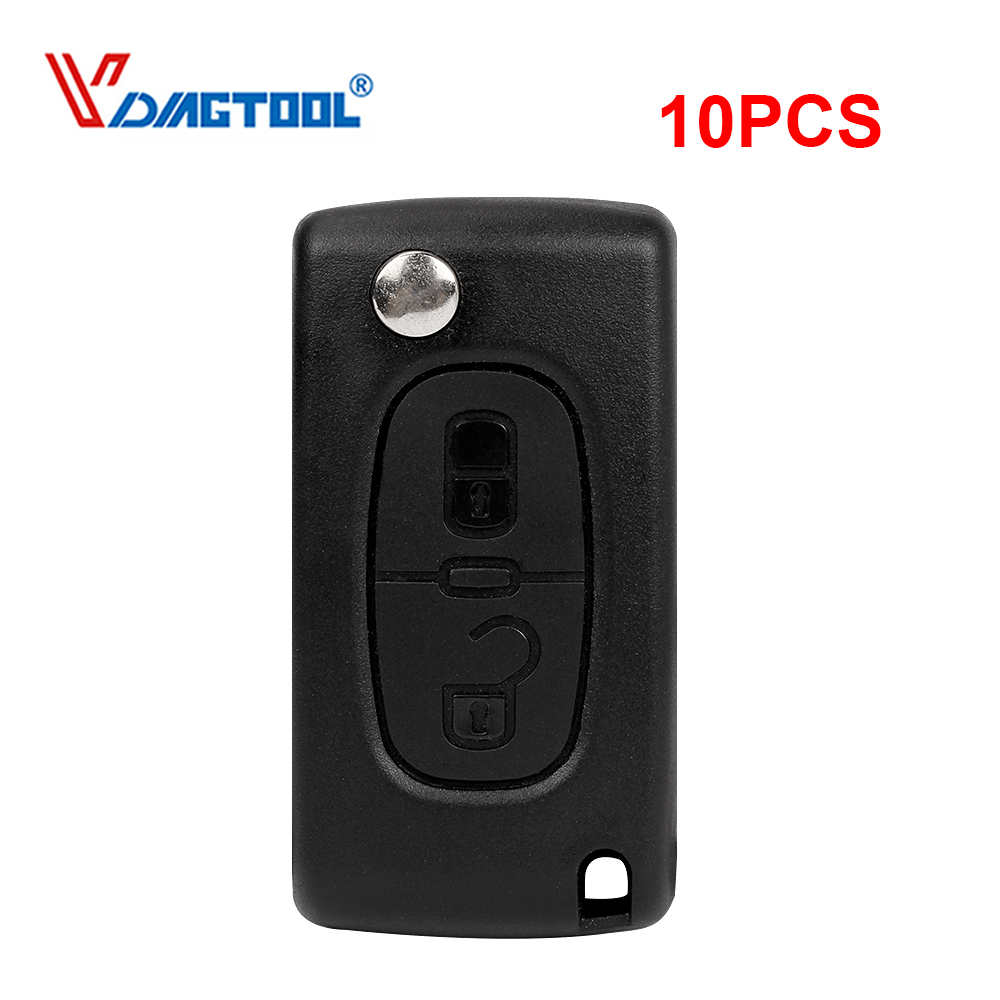 VDIAGTOOL 10PCS Flip 2 Buttons Car Key Remote Shell For Peugeot 407 Key Blank Case No Battery Place With Groove Blade(CE0523) image