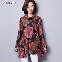 LA MAXPA 2018 Autumn Winter New Women Blouses Vintage Print Loose Shirt Women Tops Plus Size