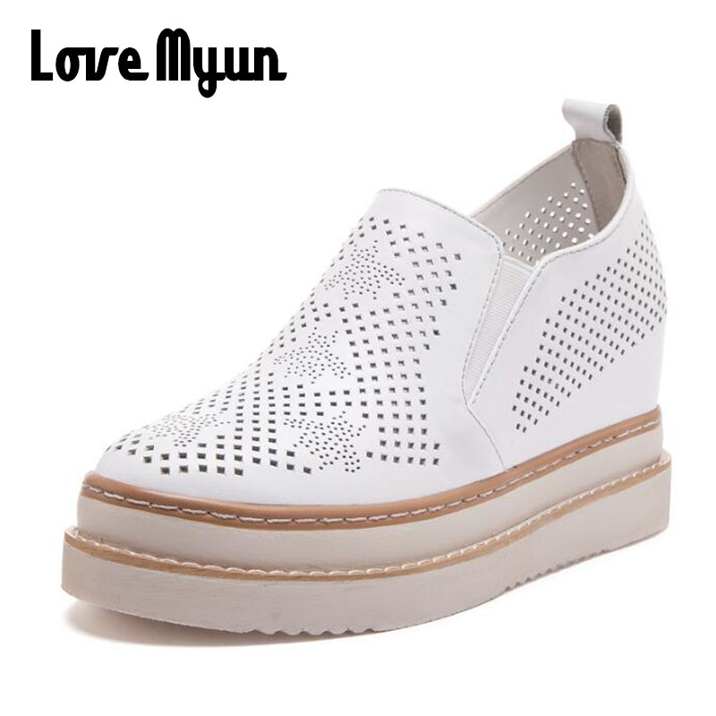 New Arrival Women Creepers Casual Breathable Flat Platform Shoes Woman Summer Casual Genuine Leather Thick Sole Shoes LL-21 women creepers shoes 2015 summer breathable white gauze hollow platform shoes women fashion sandals x525 50