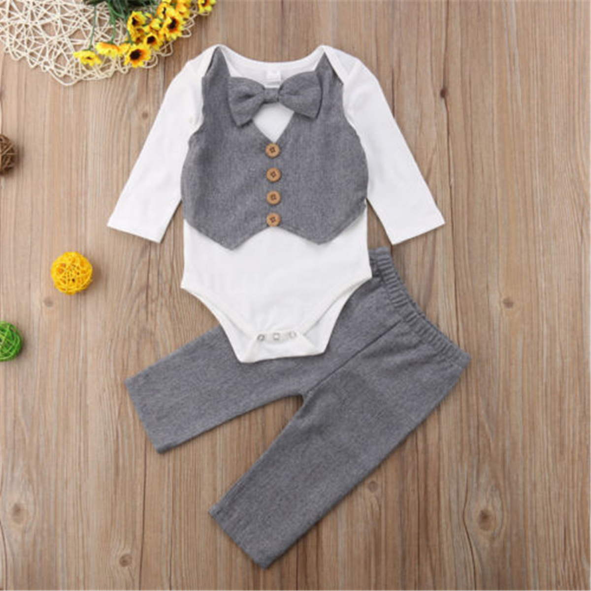 Emmababy Kids Baby Boy Gentleman Bow Tie Shirt Tops Romper+Pants Party Formal Set Clothes