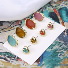 цена на 2019 new design fashion irregular oval heart-shaped  earrings cute hanging stud earrings for women diy jewelry accessories