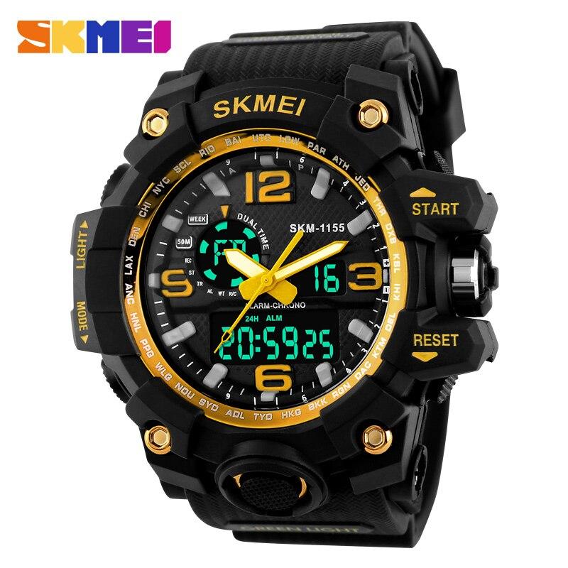 SKMEI Relogio Masculino hombres cuarzo reloj Digital 2 tiempo ejército militar deportes relojes impermeable calendario cronógrafo reloj