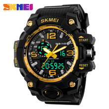 SKMEI Relogio Masculino для мужчин кварцевые цифровые часы 2 время Военная Униформа армии спортивные часы водостойкие календари хронограф наручны…
