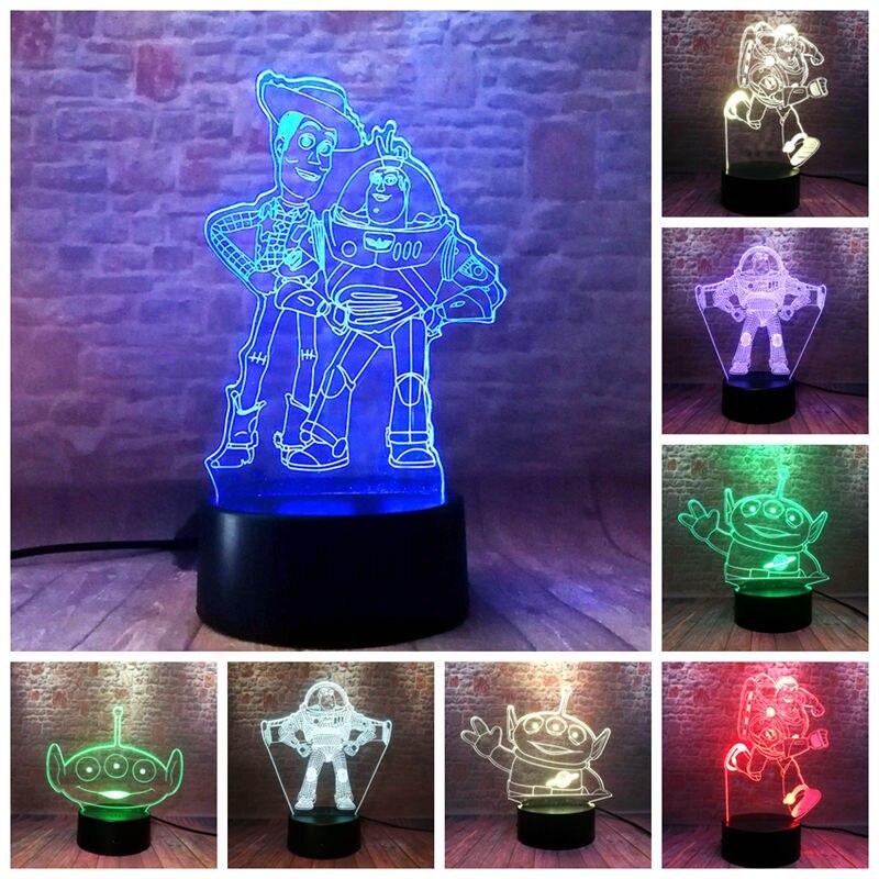 Anime estatuetas woody buzz lightyear juguete 3d ilusão led nightlight luz colorida aliens brinquedo história 4 figura dos desenhos animados brinquedos