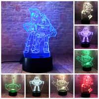 Anime figuras de Woody Buzz Lightyear juguete 3D ilusión LED Luz de luz de colores de los extranjeros juguete historia 4 juguetes de figuras de personajes animados