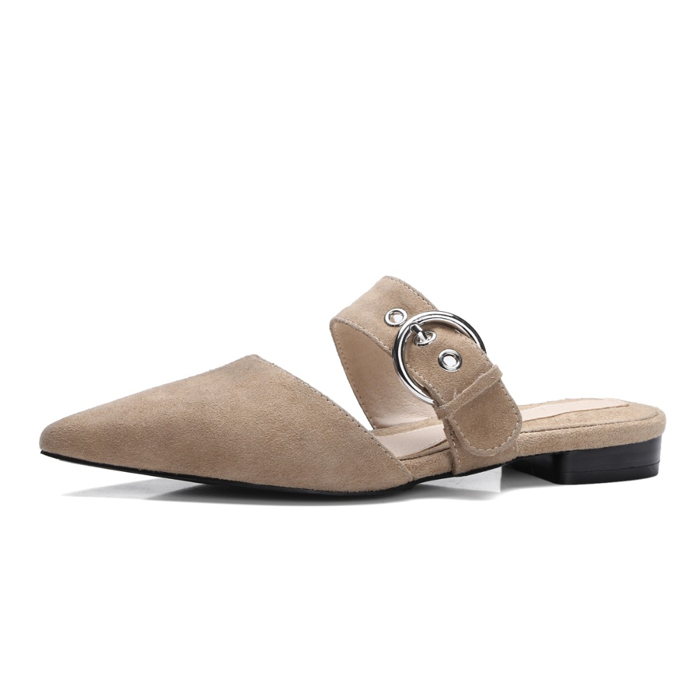 ФОТО 2017 Women Mules Genuine leather Summer Slippers Pointed-toe Sexy Sandals 2 cm heel Shoes Women Size 34-39 Box Packing a353-2