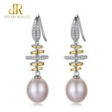 DR Luxury 925 Sterling Silver Pearls Drop Earrings 10-11mm Natural Pearl Vintage Earrings Jewelry for Women Wedding Earring daimi shining pink keshi pearl earrings 10 11mm asymmetrical earrings elegant 925 silver earrings