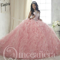 Princess Pink Organza Ruffles Ball Gown Quinceanera Dresses 2019 Sweetheart Beading Crystal Top Sweet 16 Dress vestidos de 15