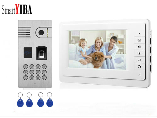 SmartYIBA Video Intercom 7''Inch Monitor Wire Video Doorbell Door Phone Intercom System RFID Access Control Fingerprint Password