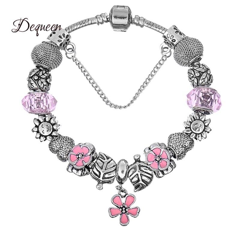 Mignon Rose Bracelets Bijoux Européenne Fleur Charme Bracelets   Bangles  Cristal Perle Bracelets pour les Femmes 2f7b797ec9b