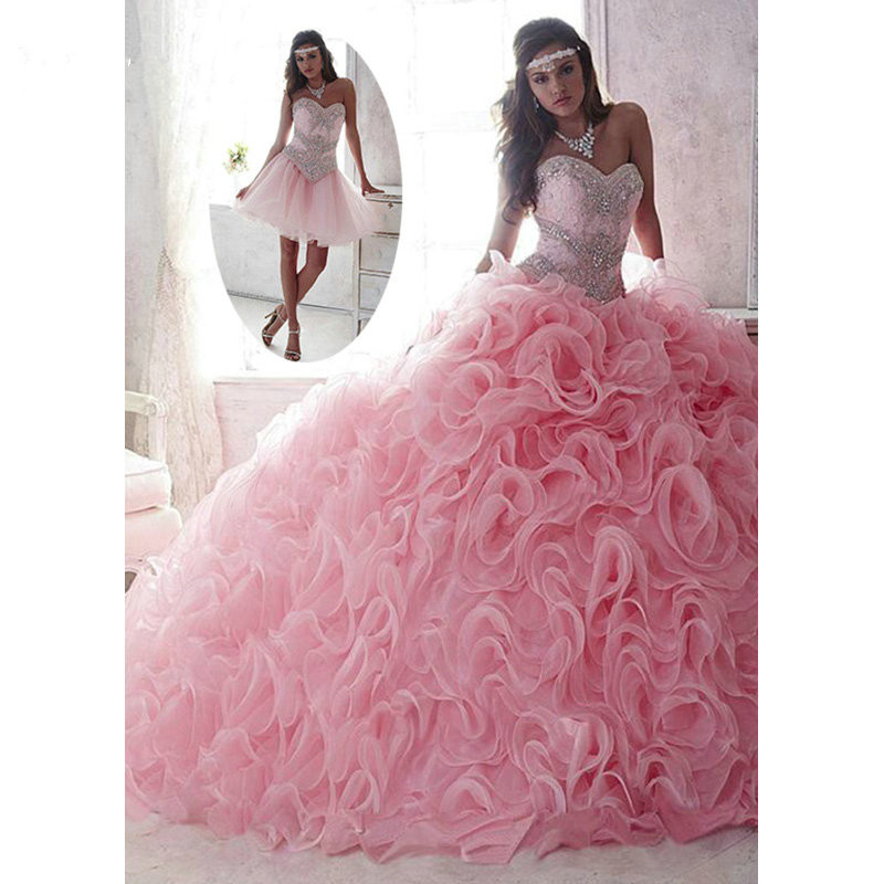 Pink Puffy Cheap Quinceanera Dresses 2019 Ball Gown Sweetheart Organza Ruffles Beaded Crystals Sweet 16 Dresses