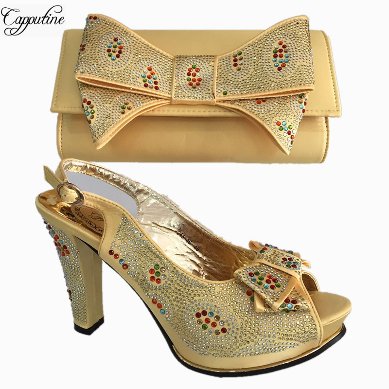 Capputine African Elegant Gold Color Shoes And Bag To Match Set Nigerian High Heels Party Shoes And Bag Set For Wedding BL675C