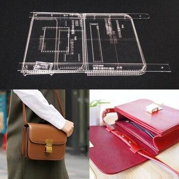 e6c742db Plantilla de corte láser acrílico Plantilla de cuero hecho a mano artesanía  bolso de hombro patrón de costura 235x170x80mm