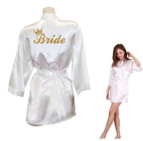 Bride Crown Team Bride Golden Glitter Print Kimono Robes Faux Silk Women Bachelorette Wedding Preparewear Free Shippin