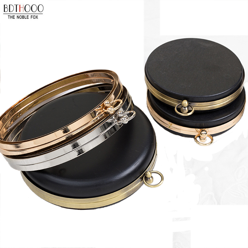 BDTHOOO 18cm Metal Clasps Dinner Round Box Purses Frame Handles For DIY Handbags Kiss Twisted Lock Buckle Tone Bag Accessories