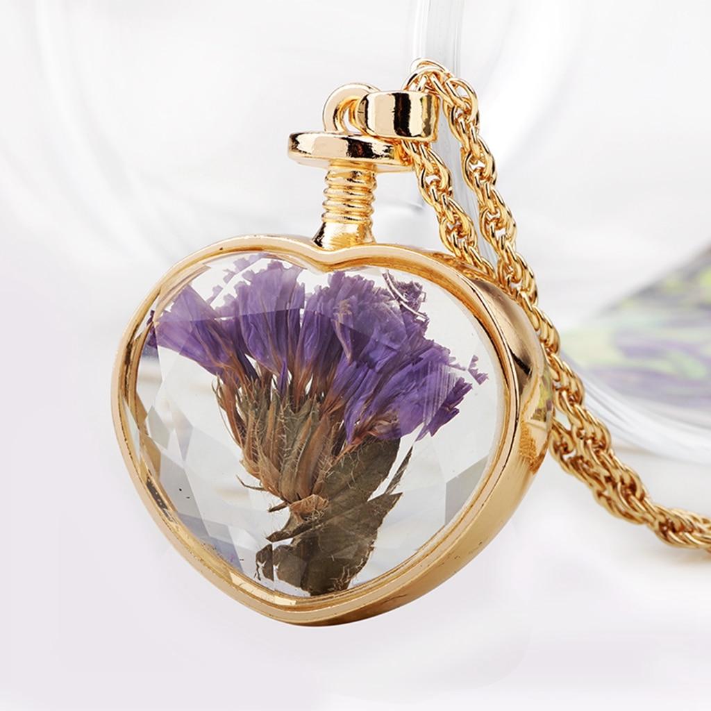 Colorized Dried Flower Alloy Metal Chain Wishing Locket Heart