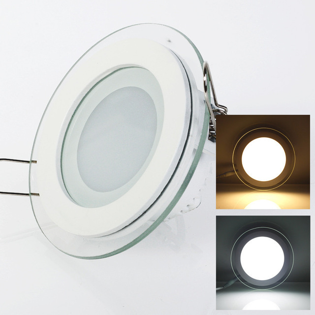 1pcs Dimmable LED Panel Downlight 6W 12W 18W Round glass ceiling recessed lights SMD 5630 Warm Cold White led Light