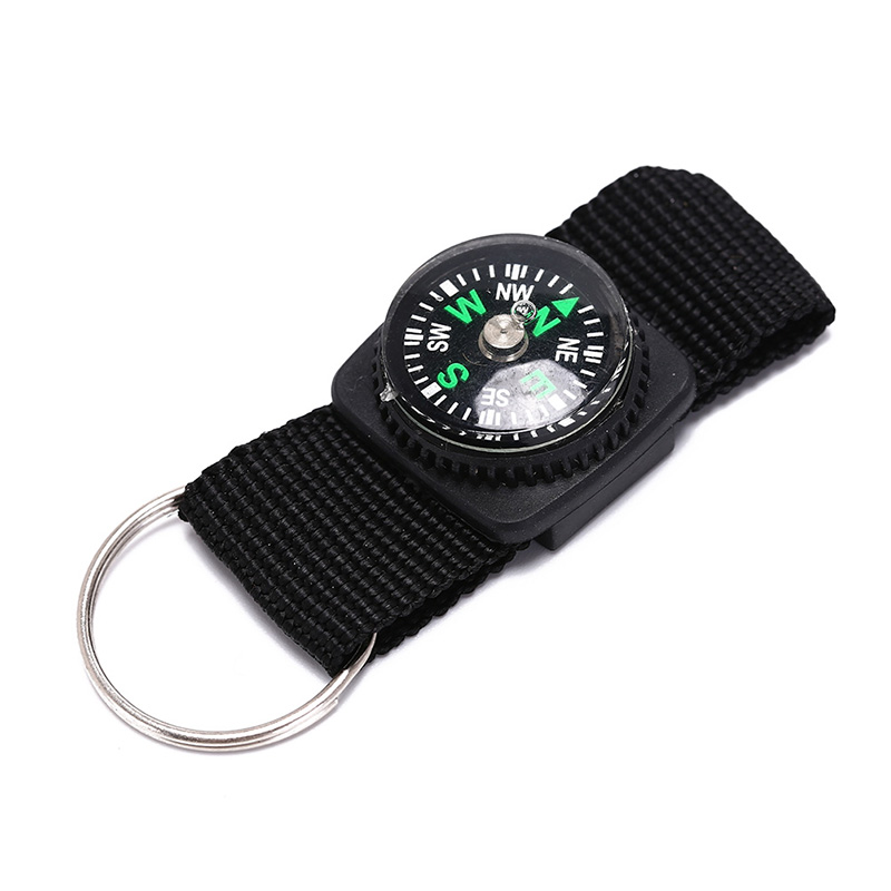 3 in 1 Camping Climbing Hiking Mini Carabiner w Keychain Compass Thermometer hanger Key Ring Black