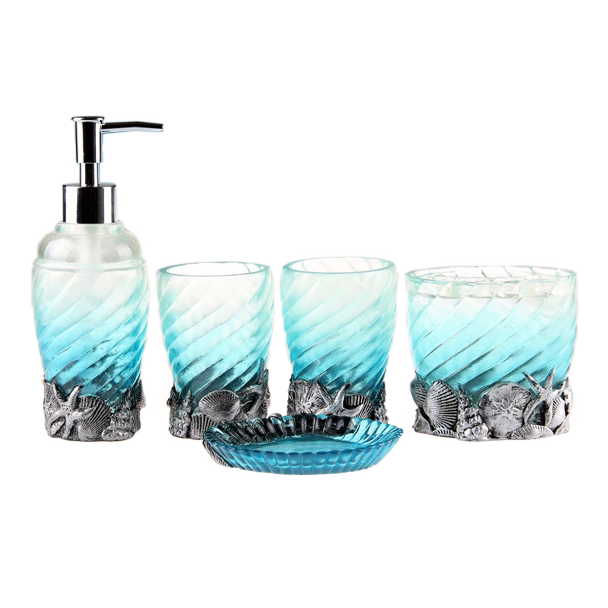 5pc/set Bathroom Accessories Ocean Blue Bath Sets Resin Accessory  Toothbrush Holder Soap Dish Lotion Dispenser In Bathroom Accessories Sets  From Home ...