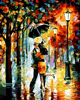 Unframed Romantic Kiss Lover DIY Painting By Numbers Landscape Acrylic Picture Wall Art Hand Painted Oil