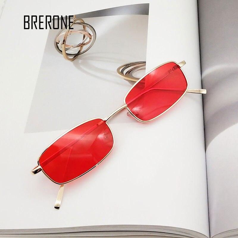 BRERONE Small Square Metal Sunglasses Women Brand Designer Men Vintage Sun Glasses Rectangular Eyewear Steampunk UV400