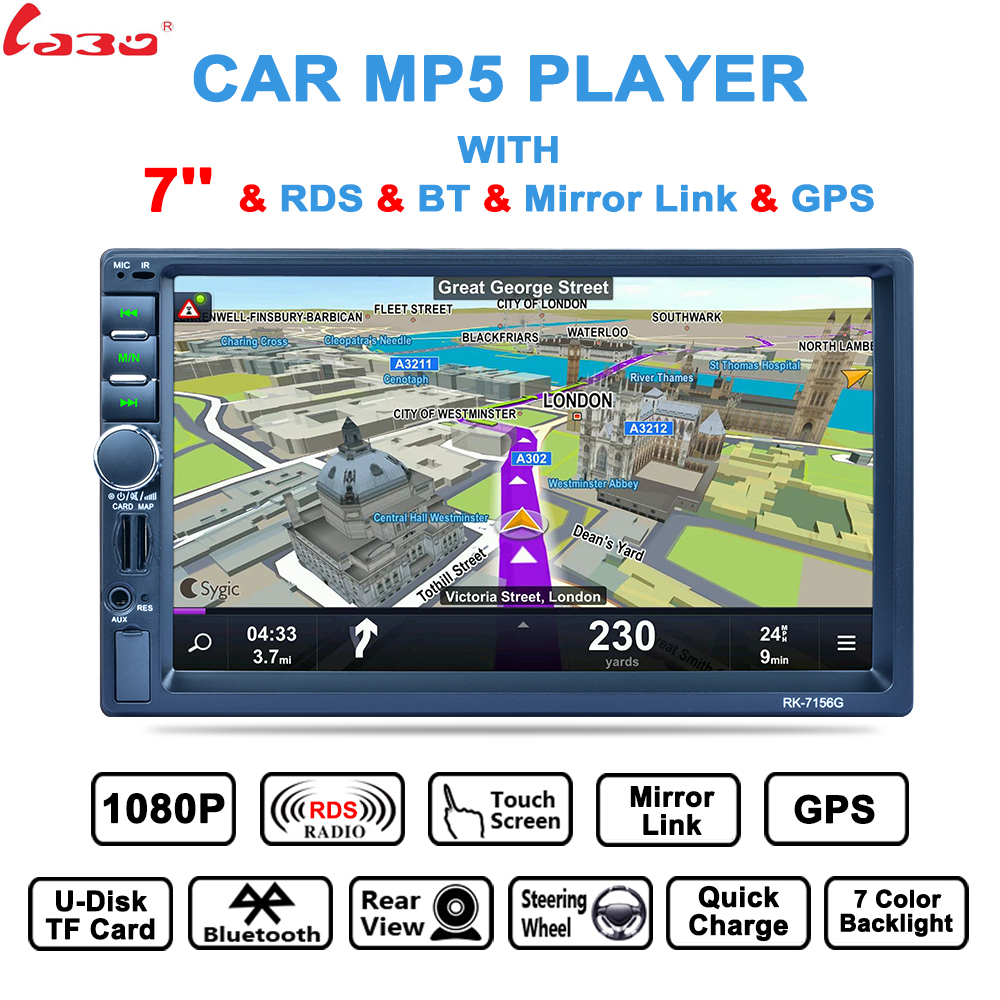 LaBo PK-7156G 2 Din Auto Car Multimedia Player+GPS Navigation 7'' HD Touch Screen MP3 MP5 Audio Stereo Radio Bluetooth FM USB niorfnio portable 0 6w fm transmitter mp3 broadcast radio transmitter for car meeting tour guide y4409b