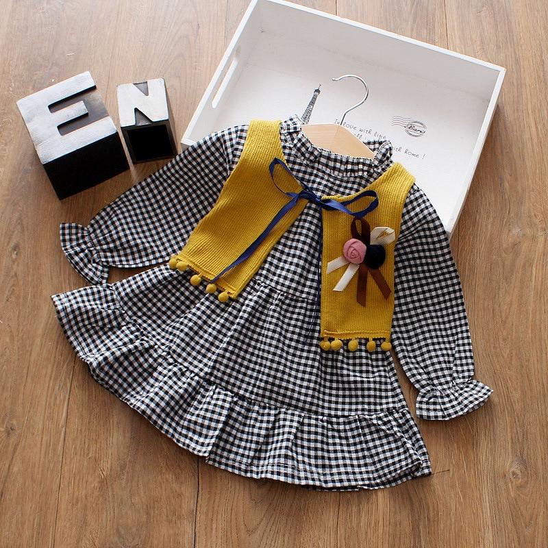 Fashion Girls Plaid Dress Cotton Long Sleeve Children Dress Kids Dresses for Girls