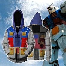 3D Printing MOBILE SUIT GUNDAM Anime Hero Cosplay Sweatshirt Hoodie Men Top Sweater Zip Gundam Costume