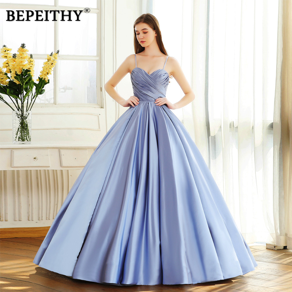 BEPEITHY Sweetheart Ball Gown Long Prom Dress Vintage Vestido De Festa Pleats Top Party Evening Gown 2019