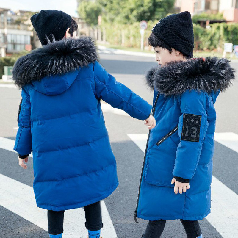 Boys Winter Coat 2018 Children Jacket For Boys New Natural Collar Hooded Outwear Coat Kids Down Coat Padded Teenagers Clothes 2016 high quality casual coat for boys mandarin collar polyester juegos infantiles for children nttz 206