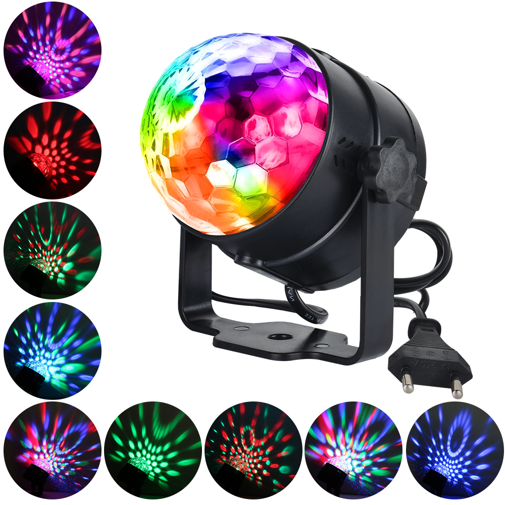 LED Stage Light 3W RGB Sound Activated Rotating Disco Ball Party Lights for Christmas Home KTV Xmas Wedding Show with Gift|Stage Lighting Effect| |  - title=