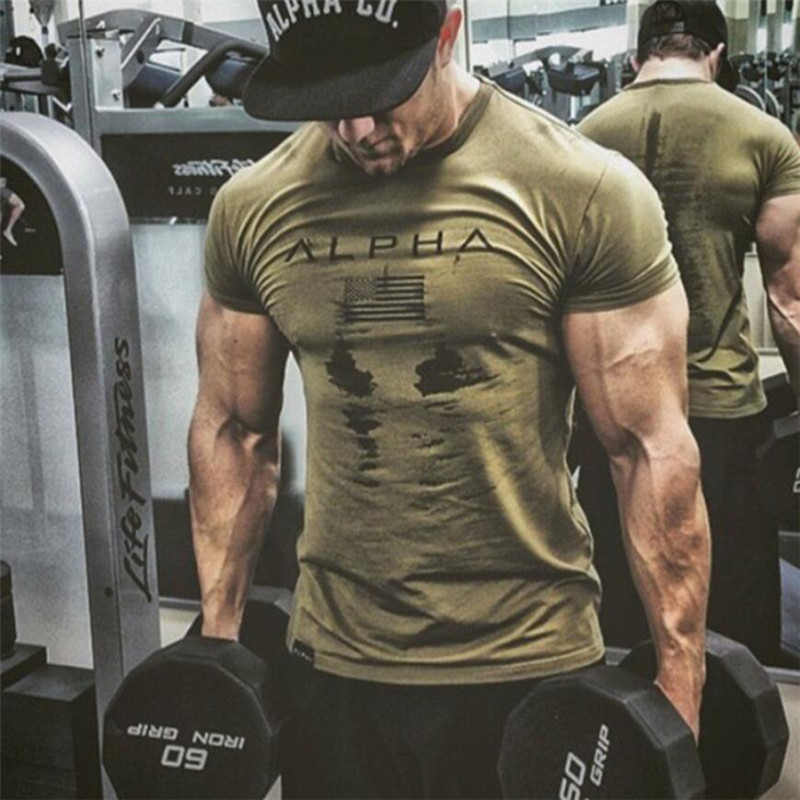 New Mens Brand T Shirt Fitness Bodybuilding Slim Cotton Shirts Men Short Sleeve Workout Male Casual Tees Tops