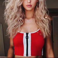 Women Sexy Bralette Fitness Cropped Tank Top Tumblr Fashion 2018 Summer Female Camisole Zipper Workout Tank