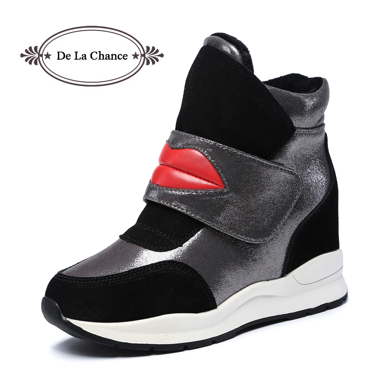 De La Chance Winter Shoes Lips Print Women Wedge Ankle Boots Hidden Heel Shoes Woman Fashion Warm Wedges Heels Boots Platform жк телевизор supra 39 stv lc40st1000f stv lc40st1000f
