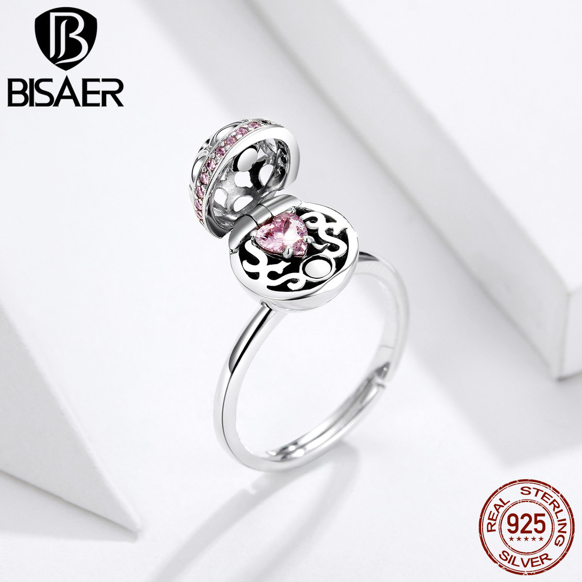 BISAER 925 Sterling Silver Surprised Box Finger Rings  Pink Zircon Rings For Women Wedding Engagement Anel Jewelry ECR530