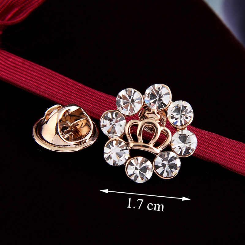 2 Buah/Banyak Ukuran Kecil Tie Tack Bros Pin untuk Dua Sisi Leher Kemeja Kerah Opal Rose Bunga Mahkota Tulang Ikan fox Butterfly Mata