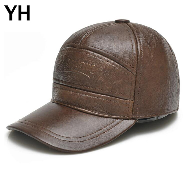 Men Genuine Leather Baseball Caps Brand Casual Real Cowhide Leather Hat 2018 New Style Real Cowhide Leather Ear Protection Cap