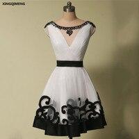 Белый и черный Винтаж элегантные коктейльные платья длиной выше колена бальное платье коктейльное платье кристалл Кепки рукавом официальн