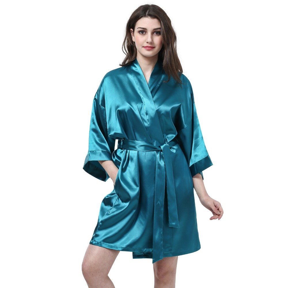 2016 New Silk Kimono Robe Bathrobe Women Silk Bridesmaid Robes Sexy ...