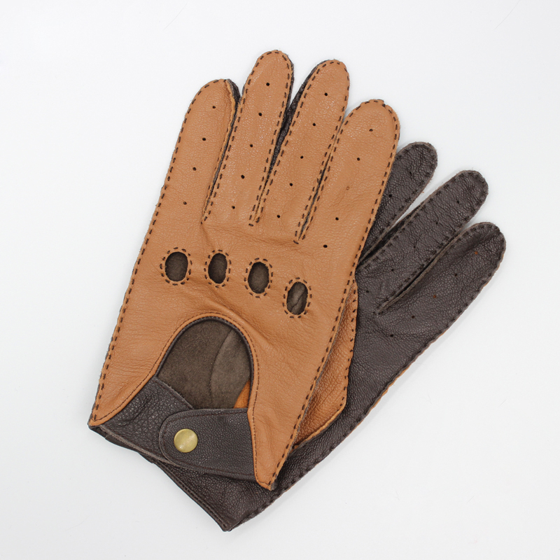 Latest 2020 Goatskin Locomotive Gloves Male Driver Style Classic Light Brown Dark Brown Motorcycle Bicycle Man's Gloves TB15-1