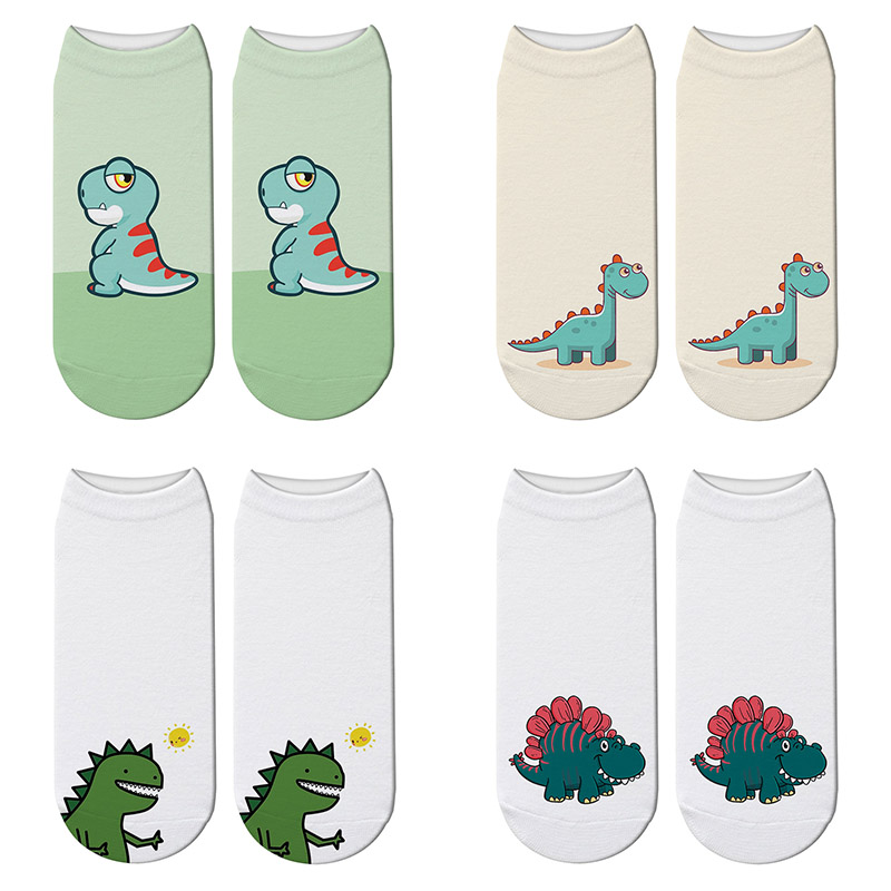 Harajuku 3D Printed Dinosaur Cartoon Socks Women Cute Jurassic Tyrannosaurus Rex Lovely Short Socks Funny Novelty Unisex Socks