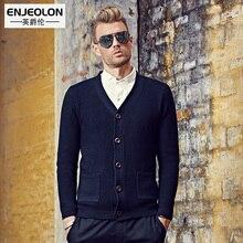 EnjeolonAutumn Winter Sweater Men slim fit Turn-Down cotton Collar Knitted Cardigan solid Black button Sweater Knitwear coat