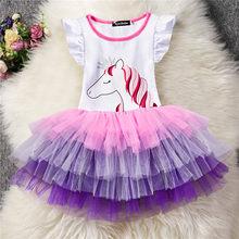 6de7157d9fc96 Bébé Filles Licorne Costume Enfants Enfants Partie Petites Robes Vêtements  Enfants Princesse Arc-En-Tulle robe d été Robe Bandea.