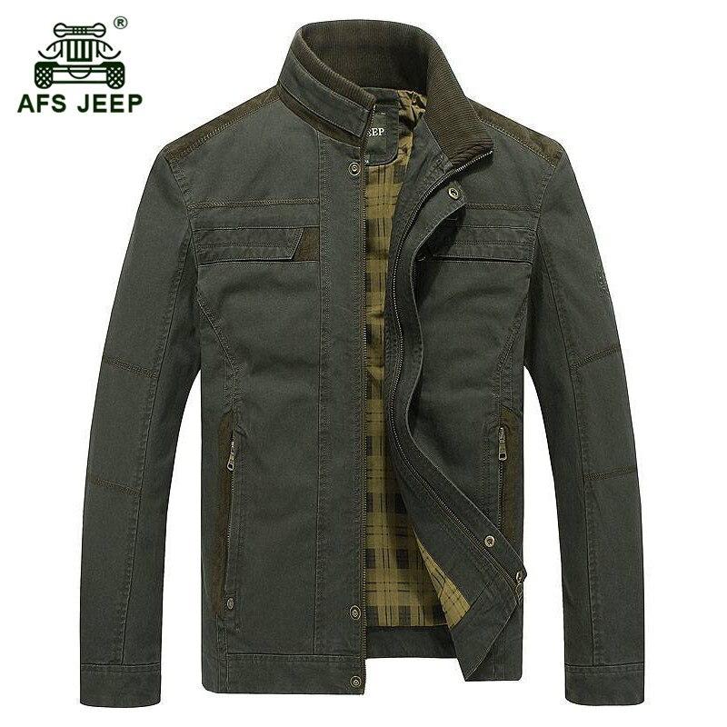 AFS JEEP 2017 europa mężczyźni w średnim wieku jesień na co dzień marki khaki plus rozmiar kurtka płaszcz wiosna mężczyzna 100% czystej bawełny zieleń wojskowa płaszcze w Kurtki od Odzież męska na  Grupa 2