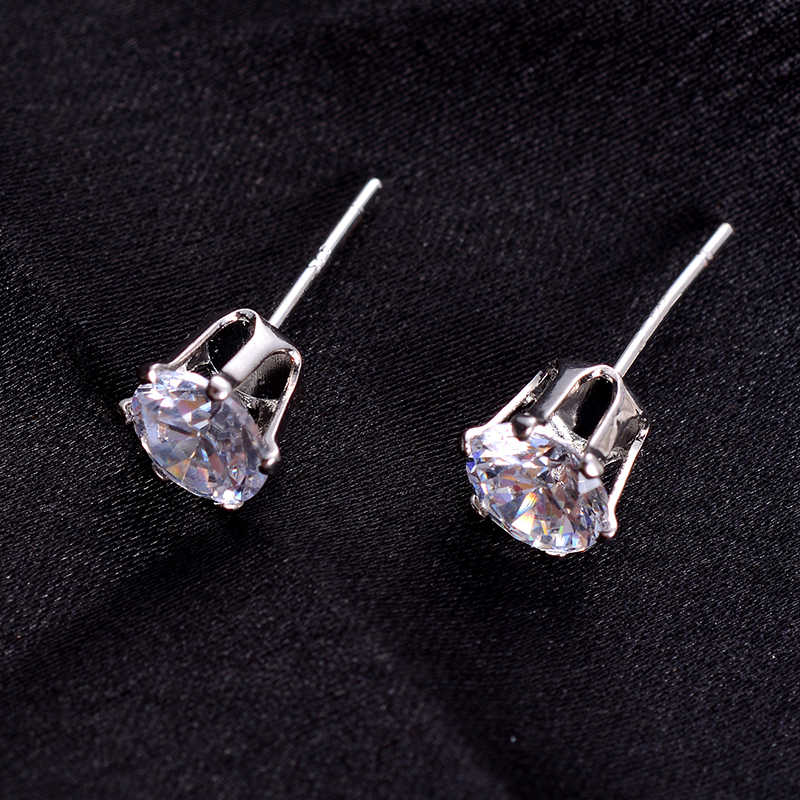 SUKI femmes de mariage portant des bijoux petite couleur or blanc classique princesse couronne minuscules boucles d'oreilles CZ boucles d'oreilles pour les filles